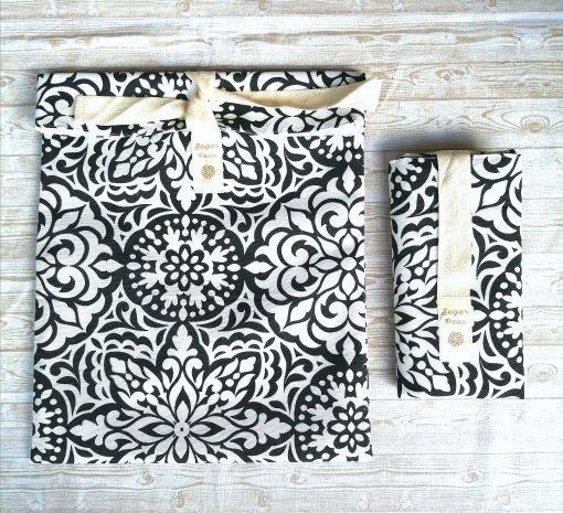 kenyeres zsák fekete- fehér mandala